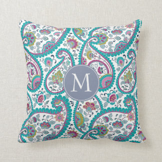 B Persian Boteh Paisley Pattern Monogram Pillow