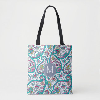 B Persian  Boteh Paisley Pattern Monogram Tote Bag