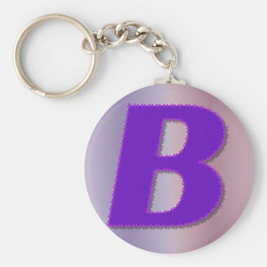 B purple monogram basic round button key ring