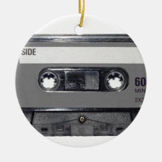 B&W 1980s Vintage Cassette Round Ceramic Decoration