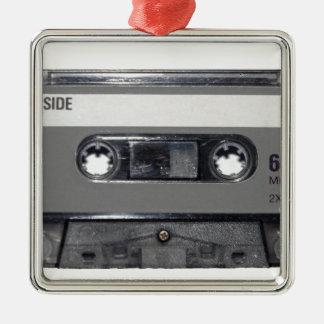 B&W 1980s Vintage Cassette Silver-Colored Square Decoration