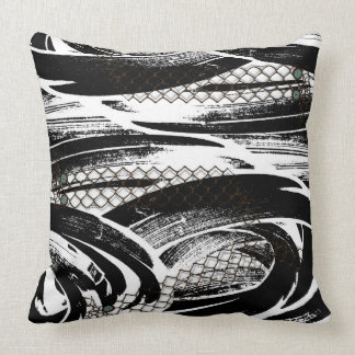 B W abstract with chicken wire pattern buttons Throw Pillow
