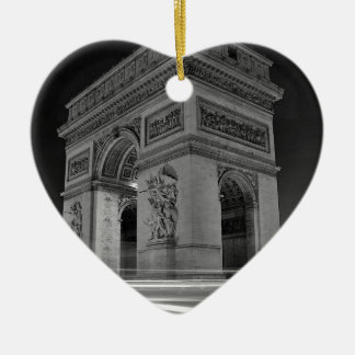 B&W Arc de Triomphe 4 Ceramic Heart Decoration