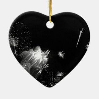 B&W Bangkok fireworks Ceramic Heart Decoration
