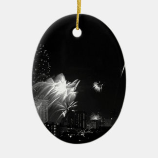 B&W Bangkok fireworks Ceramic Oval Decoration