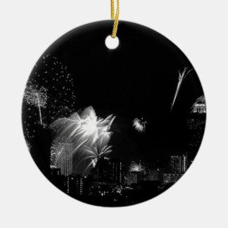 B&W Bangkok fireworks Christmas Ornament