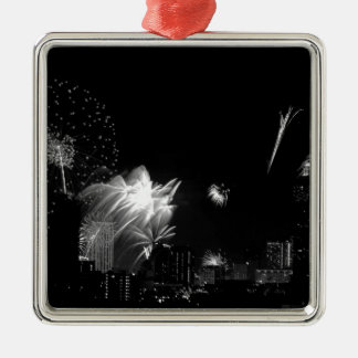 B&W Bangkok fireworks Silver-Colored Square Decoration