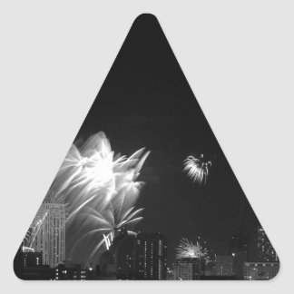 B&W Bangkok fireworks Triangle Sticker
