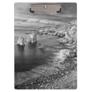 B&W beach coastline, California Clipboard