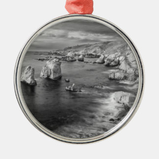 B&W beach coastline, California Silver-Colored Round Decoration