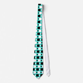 B&W Big and Little Retro Squares on Turquoise Tie