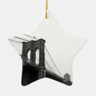 B&W Brooklyn Bridge Christmas Ornament