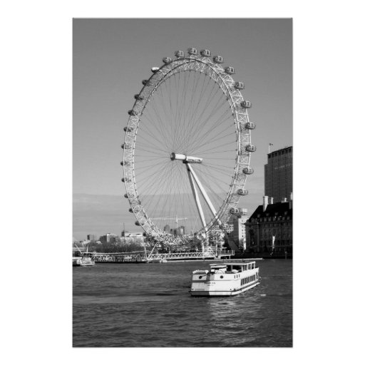 B/W Canvas Print of the London Eye Ferris Wheel