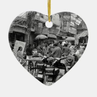 B&W Chaos in Delhi Ceramic Heart Decoration