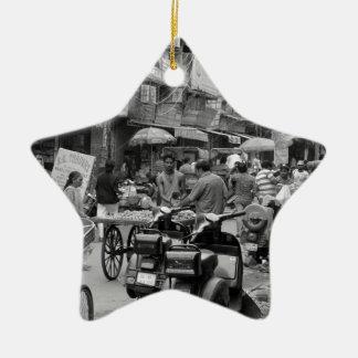 B&W Chaos in Delhi Christmas Ornament