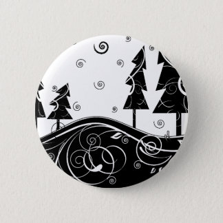 b&w Christmas trees 6 Cm Round Badge