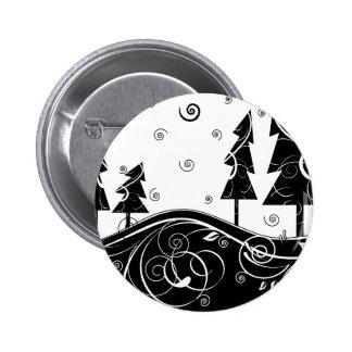 b&w Christmas trees 6 Cm Round Badge