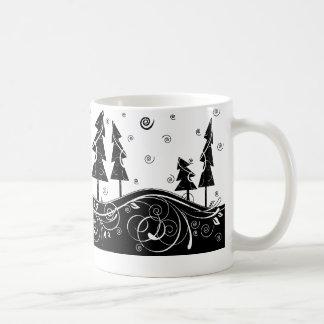 b w Christmas trees Coffee Mug