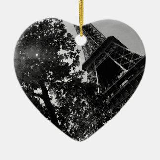 B&W Eiffel Tower 2 Christmas Ornament