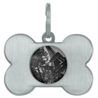 B&W Eiffel Tower 2 Pet Name Tag