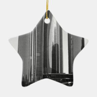 B&W Etihad Towers Christmas Ornament