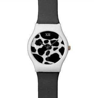 b&w farm animal cow skin watches