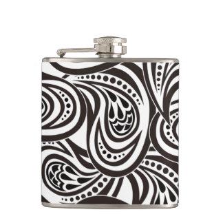 B&W Feather Design B&W Feather Design White 11 oz Hip Flask