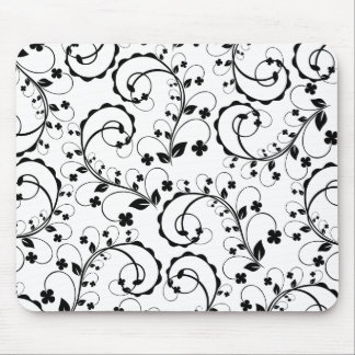 b w floral pattern mouse pads