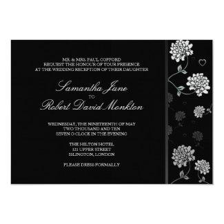 """B+W Floral Wedding Reception 5"""" X 7"""" Invitation Card"""