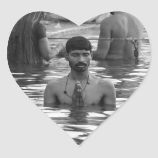 B&W Ganges River 2 Heart Sticker