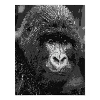 """B&W Gorilla Face Invites 4.25"""" X 5.5"""" Invitation Card"""