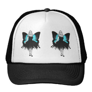 B&W Goth Ballerina & Blue Butterfly Wings Cap