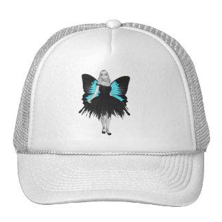 B&W Goth Ballerina & Blue Butterfly Wings Mesh Hats