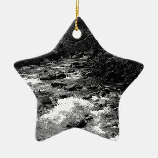 B&W Great Smoky Mountains river Ceramic Star Decoration