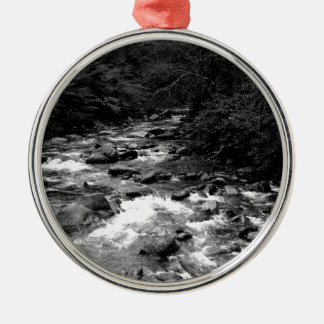 B&W Great Smoky Mountains river Christmas Ornament