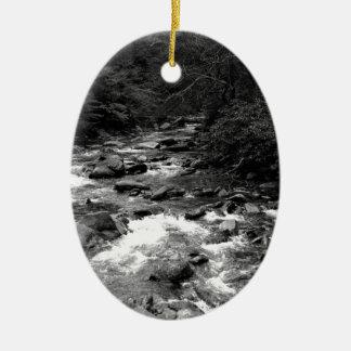 B&W Great Smoky Mountains river Christmas Ornament