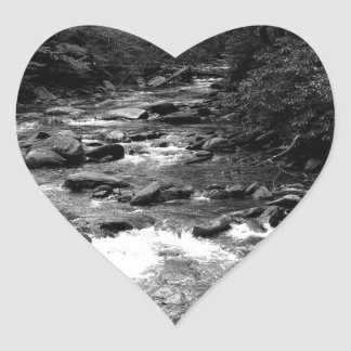 B&W Great Smoky Mountains river Heart Sticker