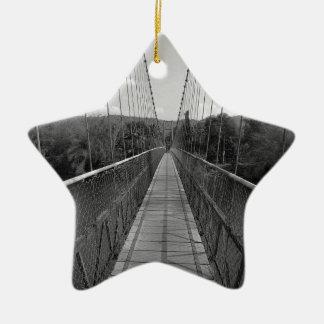 B&W Hanging Bridge over Gangavali River Ceramic Star Decoration