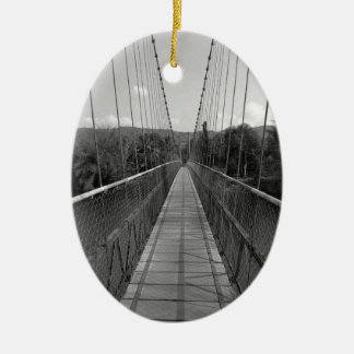 B&W Hanging Bridge over Gangavali River Christmas Ornament