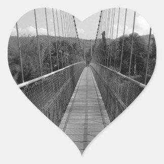 B&W Hanging Bridge over Gangavali River Heart Sticker