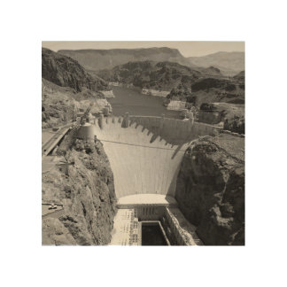 B&W Hoover Dam 3 Wood Wall Decor
