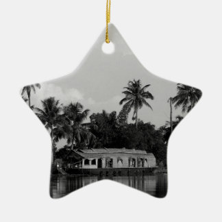 B&W House Boat Christmas Ornament