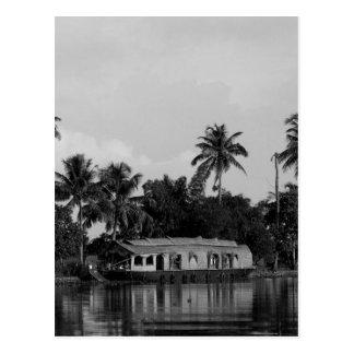 B&W House Boat Postcard