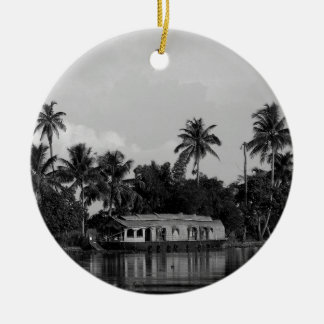 B&W House Boat Round Ceramic Decoration