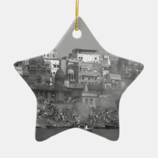 B&W India Ganges River Christmas Ornament