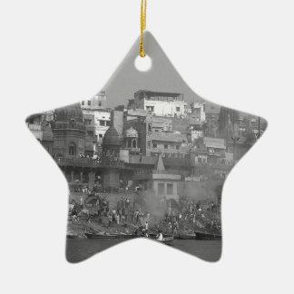 B&W India Ganges River Christmas Ornament