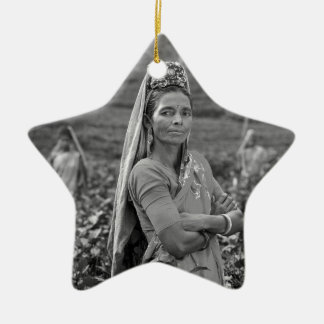 B&W Indian Womens Christmas Ornament