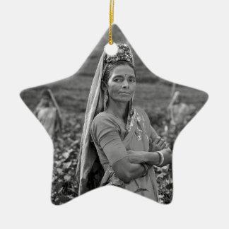 B&W Indian Womens Christmas Ornament