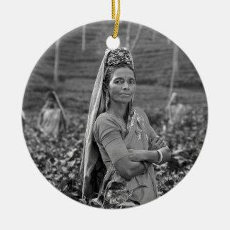 B&W Indian Womens Round Ceramic Decoration