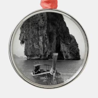 B&W Krabi beach 3 Silver-Colored Round Decoration